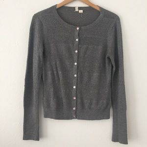 Anthropologie Moth Gray Button Down Cardigan